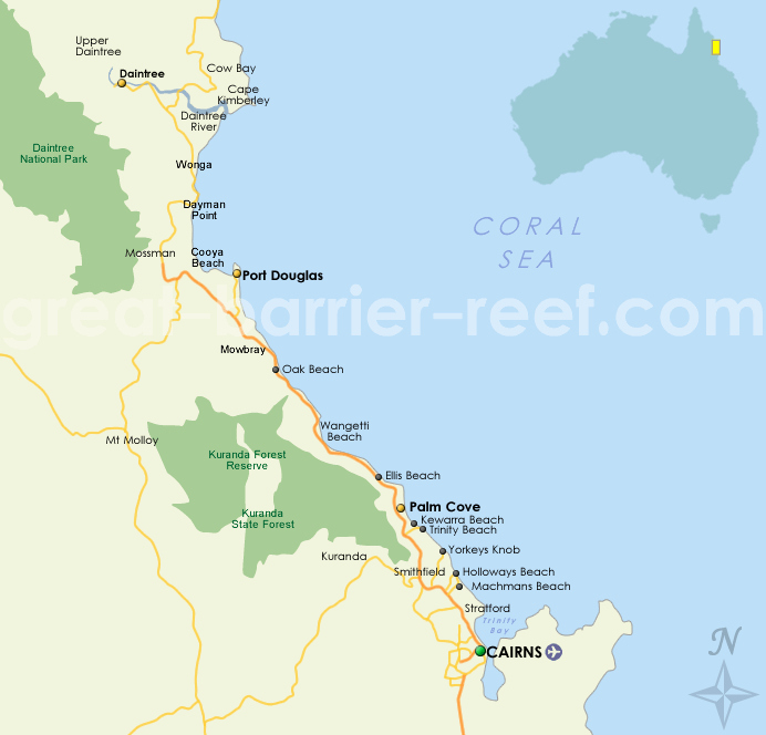 Barrier Reef Australia Map.Great Barrier Reef Map